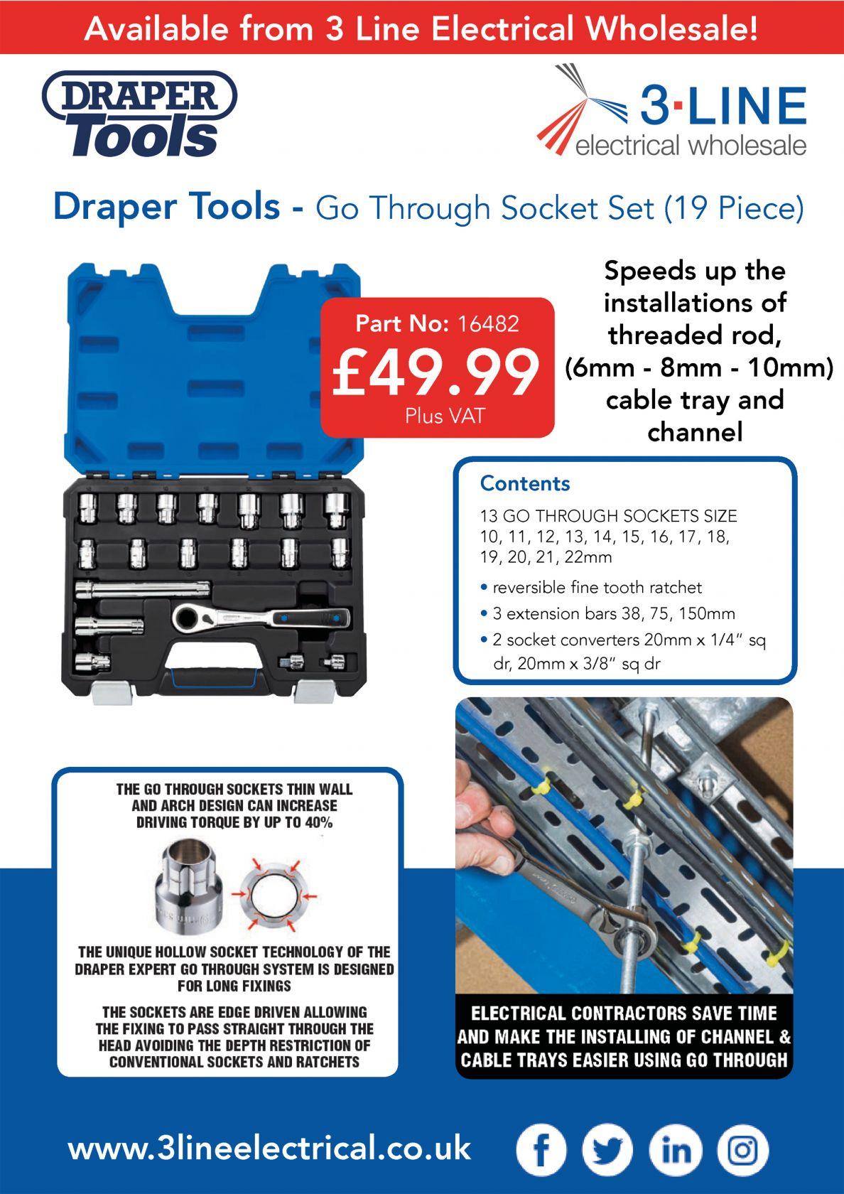 Draper Tools 19  Piece Go Through Socket Set!