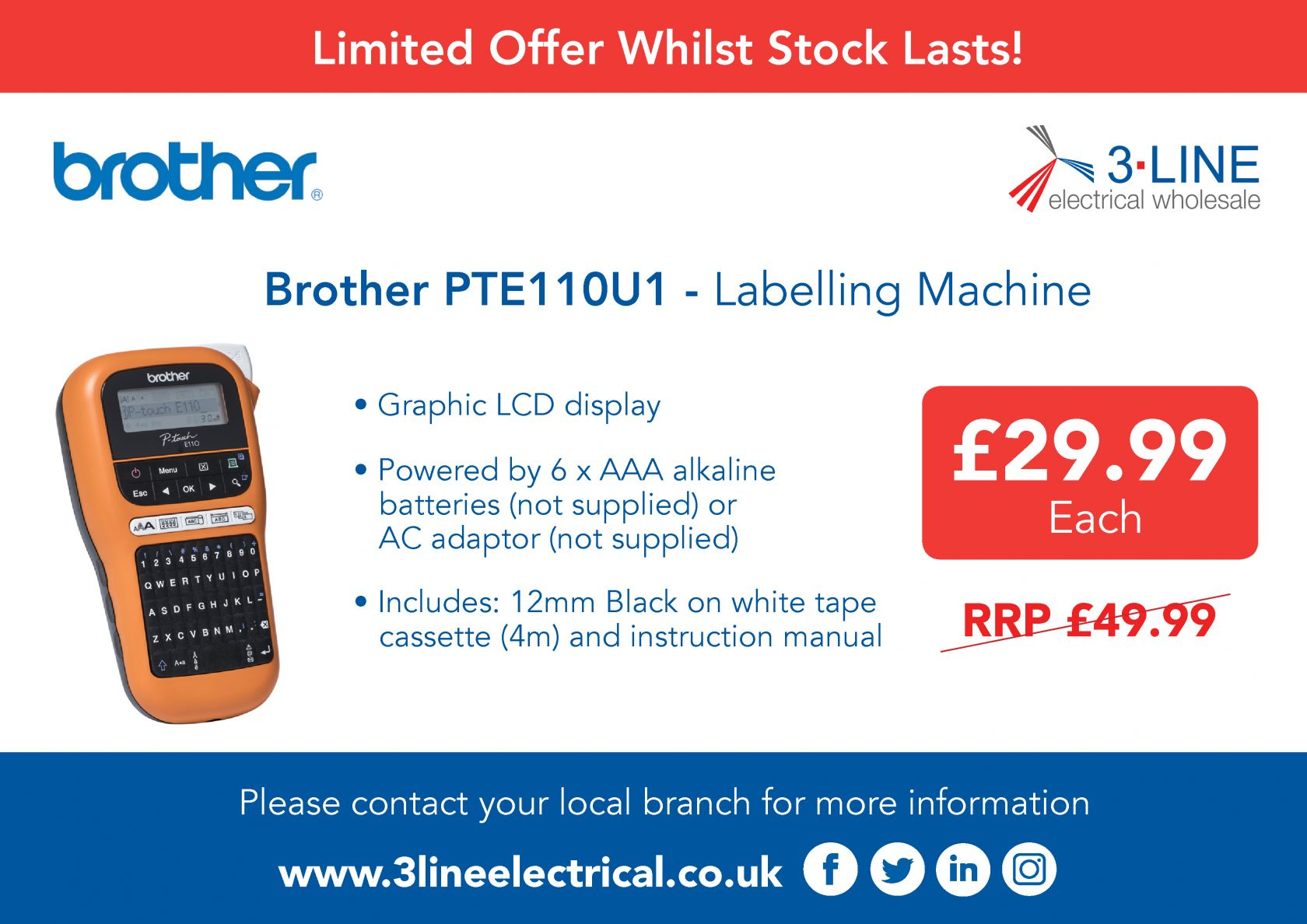 Brother PTE110U1 - Labelling Machine