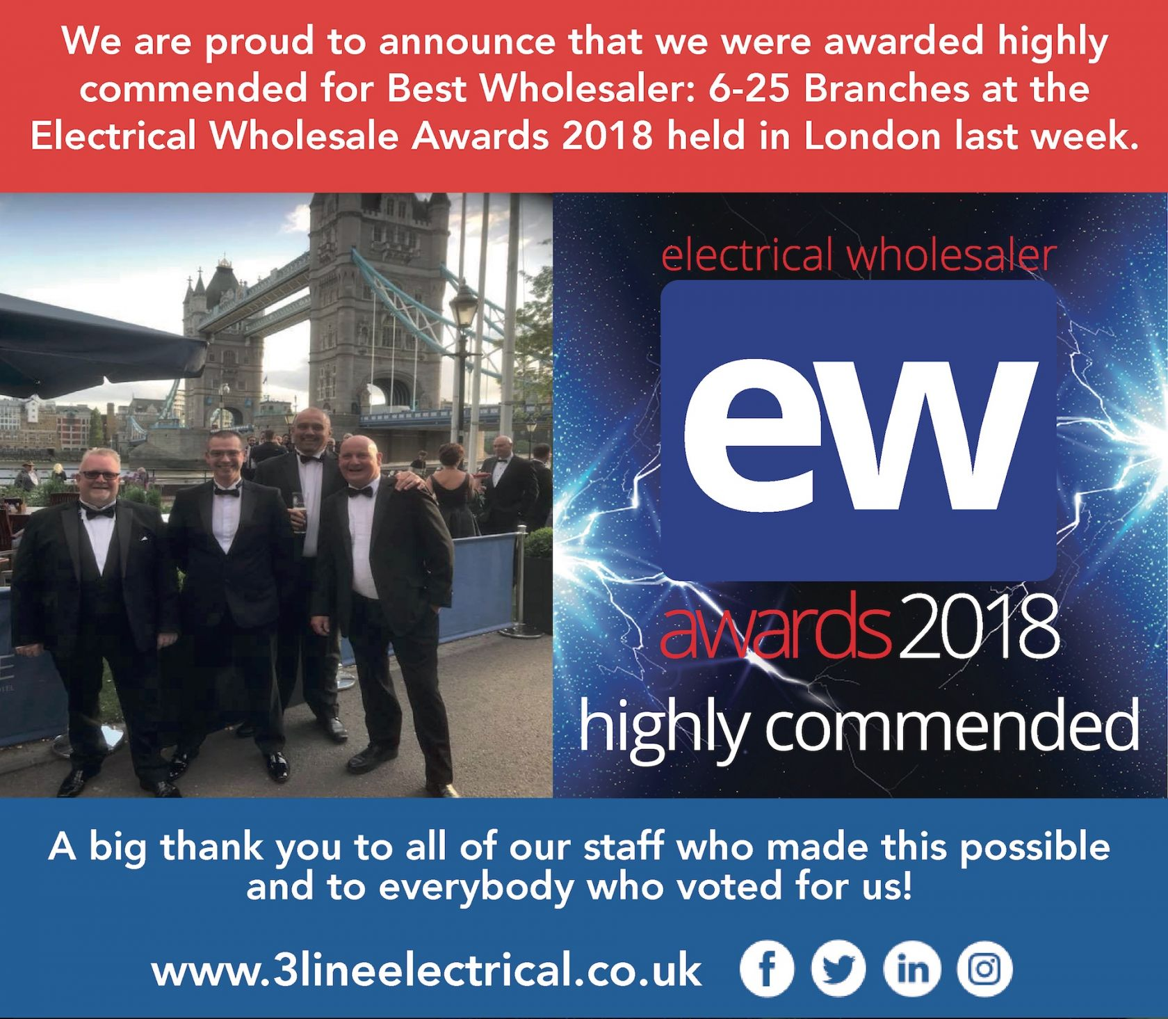 awarded highly  commended for Best Wholesaler: 6-25 Branches at the  Electrical Wholesale Awards 201