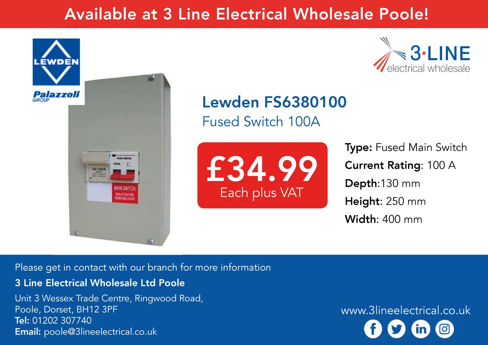 Lewden FS6380100 Fused Switch 100A (Poole branch)
