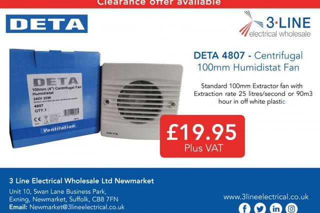 DETA 4807 - Centrifugal  100mm Humidistat Fan