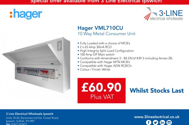 Hager VML710CU Special Offer available from 3 Line Electrical Wholesale Ipswich!