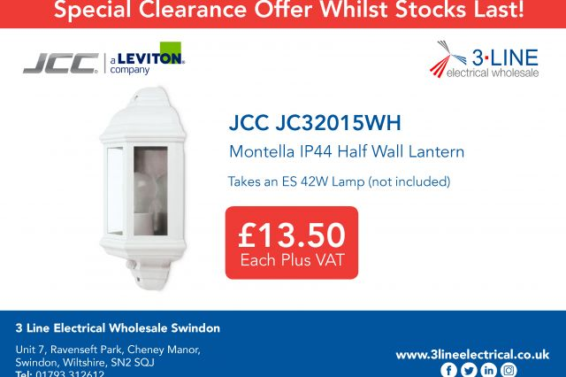 JCC JC32015WH Montella IP44 Half Wall Lantern Special Offer available from Swindon