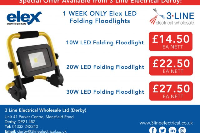 Elex LED Folding Floodlights (Derby)