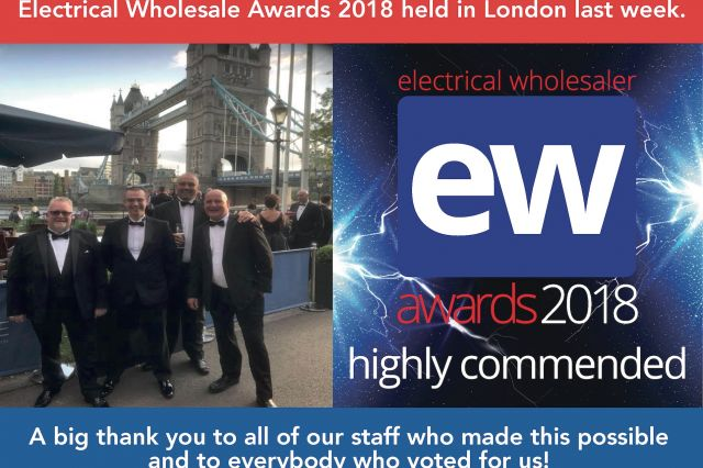 3 Line Awarded highly commended for Best Wholesaler: 6-25 Branches at the Electrical Wholesale Awards 2018