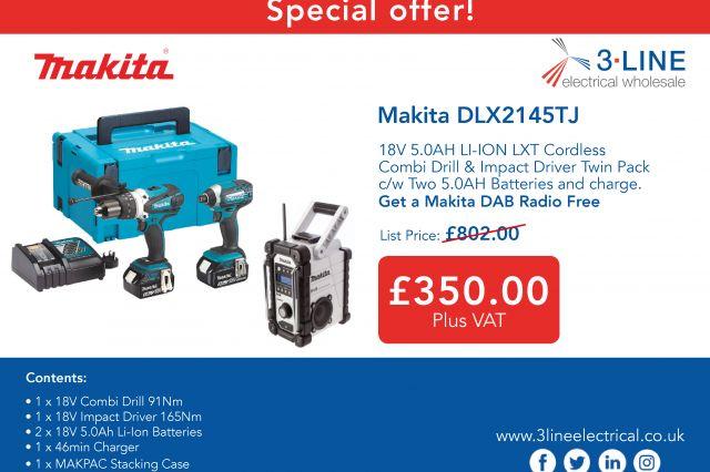 Makita DLX2145TJ Plus Free DAB Radio