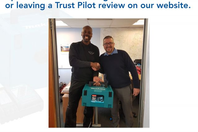 Congratulations to Mr Paul Green of  Green Electrical, Derby, the winner in our  prize draw for following us on social media  or leaving a Trust Pilot review on our website.