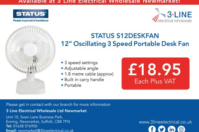 STATUS S12DESKFAN 12' 3 Speed Fan (Newmarket)